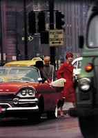 anne st. marie and cruiser in traffic, ny by william klein