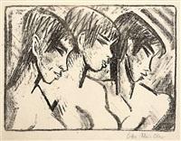 drei mädchen im profil - drei mädchenköpfe (three girls in profile - three heads of girls) by otto mueller