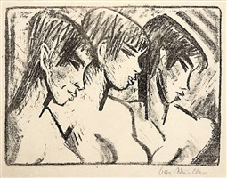 drei mädchen im profil - drei mädchenköpfe (three girls in profile - three heads of girls) by otto mueller
