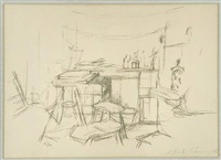 the studio with bottles by alberto giacometti