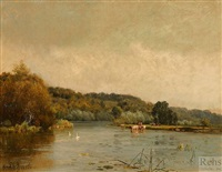 an autumn morning, hurley reach by alfred de breanski sr