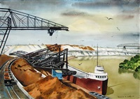 unloading iron ore at the lorain works, ohio by clarence holbrook carter