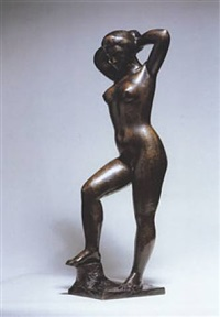 baigneuse debout se coiffant by aristide maillol