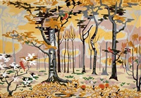 untitled (landscape with trees and birds) by charles ephraim burchfield