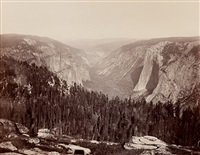 from the sentinel dome, down the valley, yosemite by carleton e. watkins