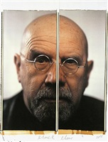 self-portrait/diptych by chuck close