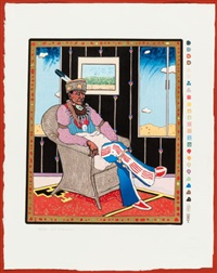 portraits of the brave heart people: collector #5; two guns arikara; woman at the window; his hair flows like a river; hopi with manta (5 works) by t.c. cannon