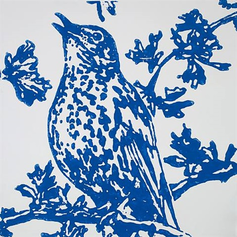 song thrush (blue) (detail) by richard woods