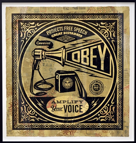 obey megaphone collage by shepard fairey