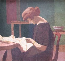 interior with woman sewing by malcolm drummond