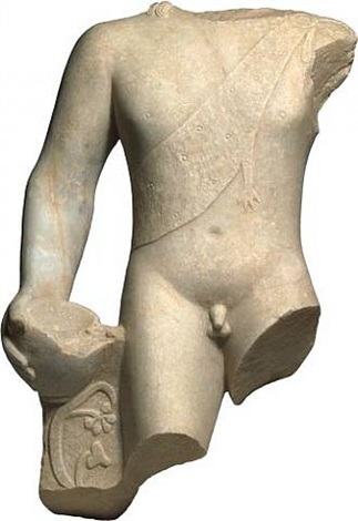roman marble torso of young dionysos wearing panther skin