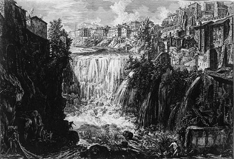veduta della cascata di tivoli (the waterfall at tivoli) by giovanni battista piranesi