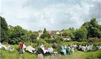 women drying laundry on the gorse, vale of health, hampstead heath by scott mcfarland