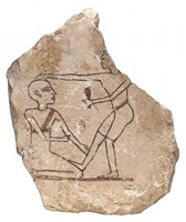 egyptian limestone ostracon (stone flake with a head-shaving scene)