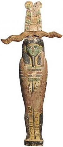 egyptian wooden polychrome ptah sokar osiris figure