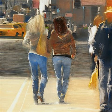 strolling, times square by david allen dunlop