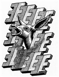 e is for ezel (donkey) by m. c. escher