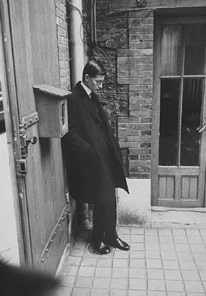 yves st. laurent after attending christian dior's funeral, paris, france, 1957 by loomis dean