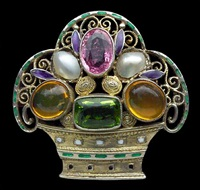 jugendstil floral brooch by theodor fahrner (co.)
