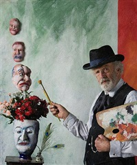 <!--60-->self portrait with masks (after ensor) by philip haas