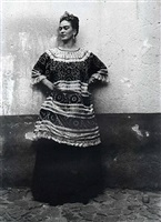 untitled (frida kahlo standing against concrete wall) by leo matiz