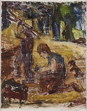 boys gathering firewood by theresa ferber bernstein