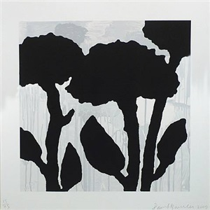 untitled (black flowers) by donald baechler