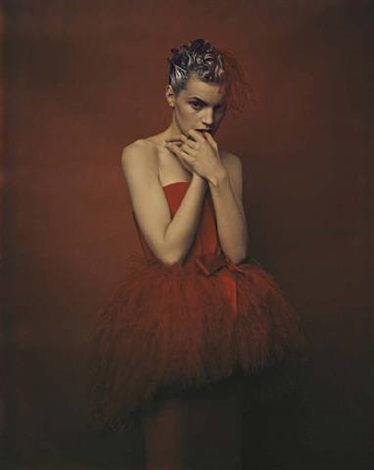 guinevere in red dress by yves saint by paolo roversi
