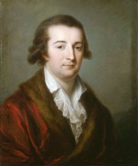 a portrait of the duca di chiesi, son of livio erba-odascalchi, duca di bracciano and vittoria corsini, half-length, seated, wearing a red velvet and fur trimmed jacket and lace collar by angelika kauffmann