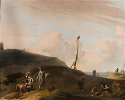 a dune landscape with figures by ludolf backhuysen the elder
