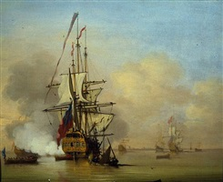 a small english man-o-war firing a salute with small boats nearby by cornelis van de velde