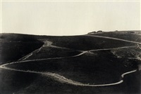 roads on a hillside by brett weston
