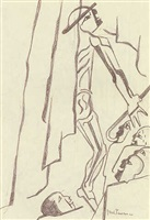figure study after vesalius (back with hat and cane) by jacob lawrence
