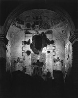 interior of tumacacori mission, arizona by ansel adams