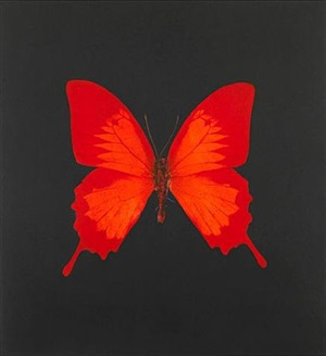 the souls on jacob's ladder take their flight (large red) by damien hirst