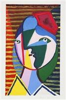lot 38: visage de femme sur fond raye by pablo picasso