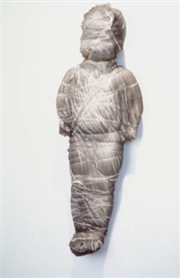 untitled (doll wrapped in gray fabris) by may wilson