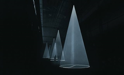 "installation view of ""breath: the vertical works"" at hangar bicocca, milan, italy by anthony mccall"
