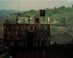 camera obscura: view of landscape outside of florence in room with, bookcase, italy by abelardo morell