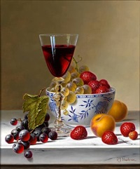 <i>still life with red wine and fruit on marble</i> by roy hodrien