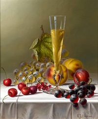 <i>still life with champagne and fruit on a tablecloth</i> by roy hodrien