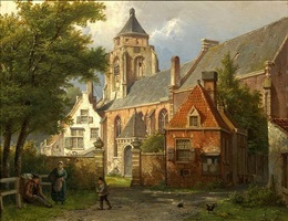 <i>dutch town scene with figures</i> by willem koekkoek