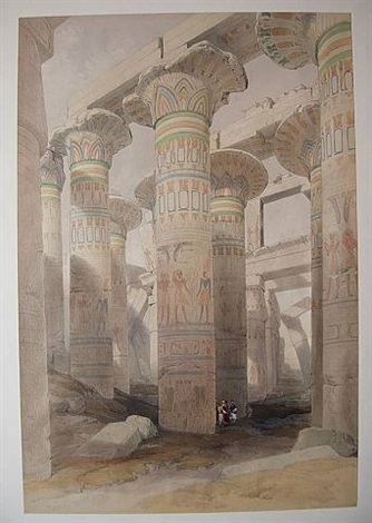 oblique view of the hall of columns by david roberts