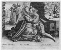 ein liebespaar im freien (+ eine musizierende gesellschaft; 2 works after adam van noort) by peeter de jode the elder