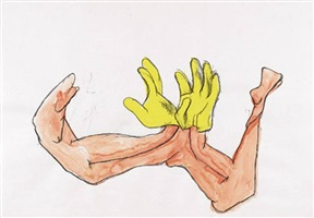a pair of gloves by maria lassnig