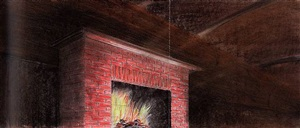 rough fireplace study by ed ruscha
