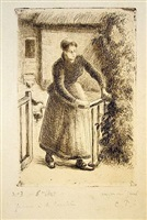 femme a la barriere (woman at the gate) by camille pissarro