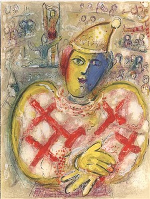 the red clown by marc chagall