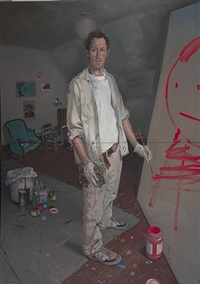 self-portrait in the garret ii by andrew lenaghan