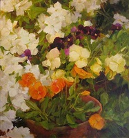 azaleas and pansies (sold) by kathy anderson
